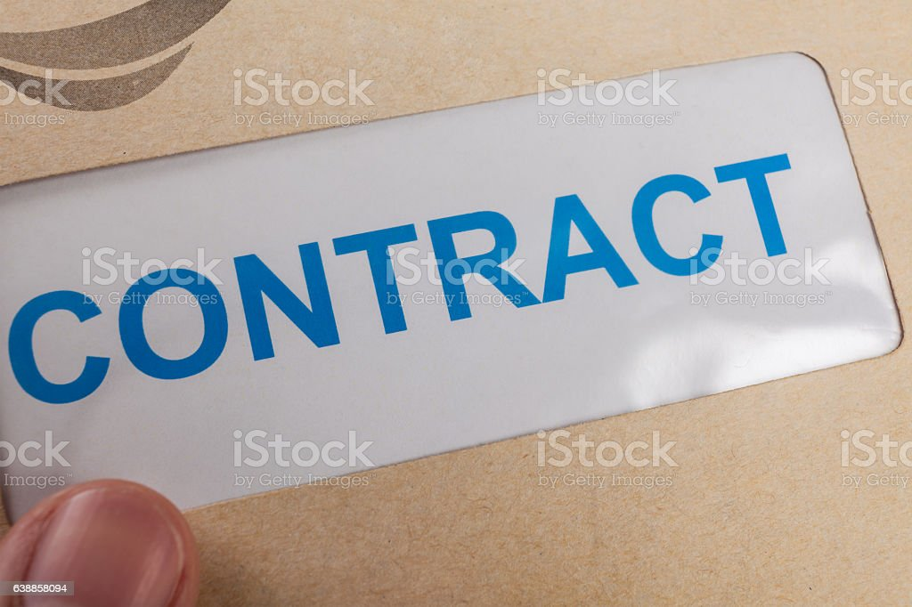 Contract in brown envelope, can use business concept stock photo