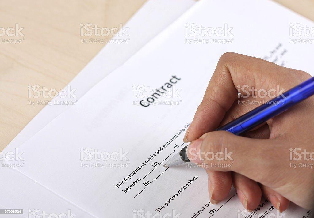 Contract royalty free stockfoto