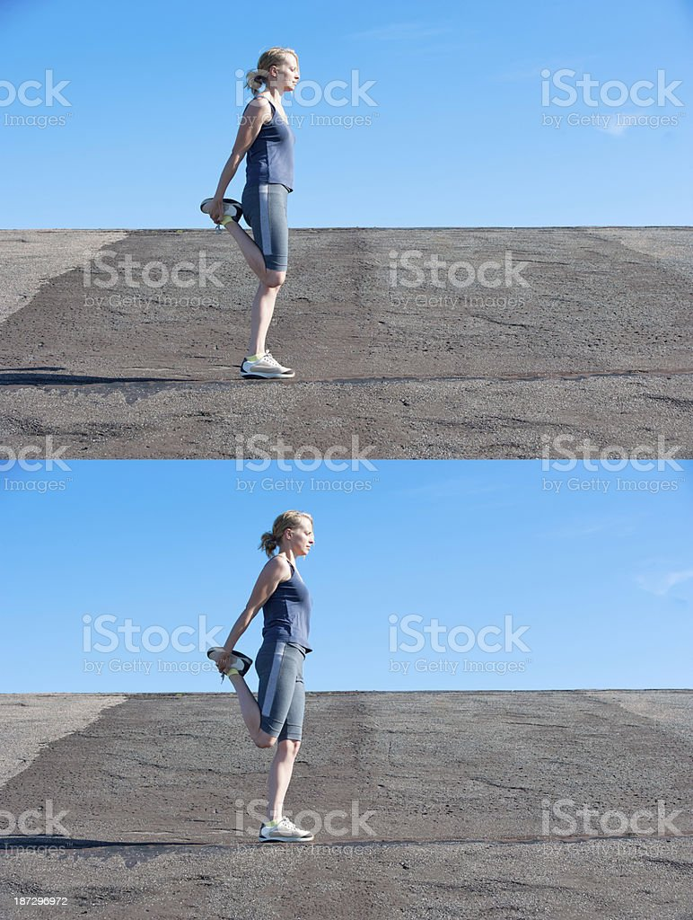 Contract relax stretching of quadriceps royalty-free stock photo