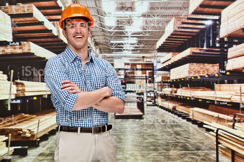 Contractor at hardware store stock photo