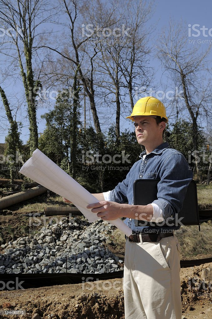 Contractor At Job Site royalty-free stock photo