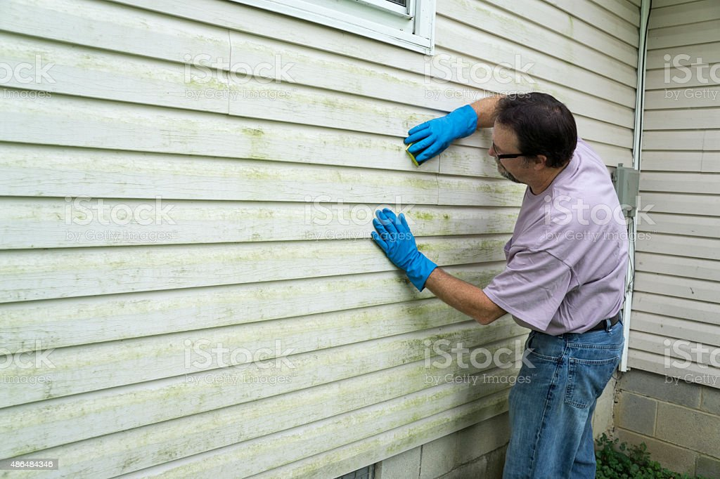 Contractor Cleaning Vinyl Siding stock photo