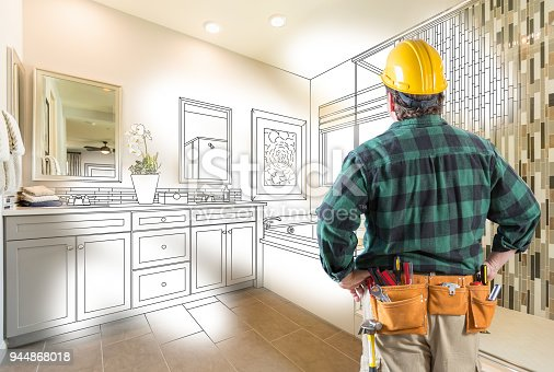 istock Contractor Facing Custom Master Bathroom Drawing and Photo Gradation 944868018