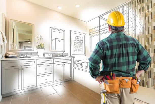 contratante frente banheiro master custom desenho e gradação de foto - banheiro estrutura construída - fotografias e filmes do acervo
