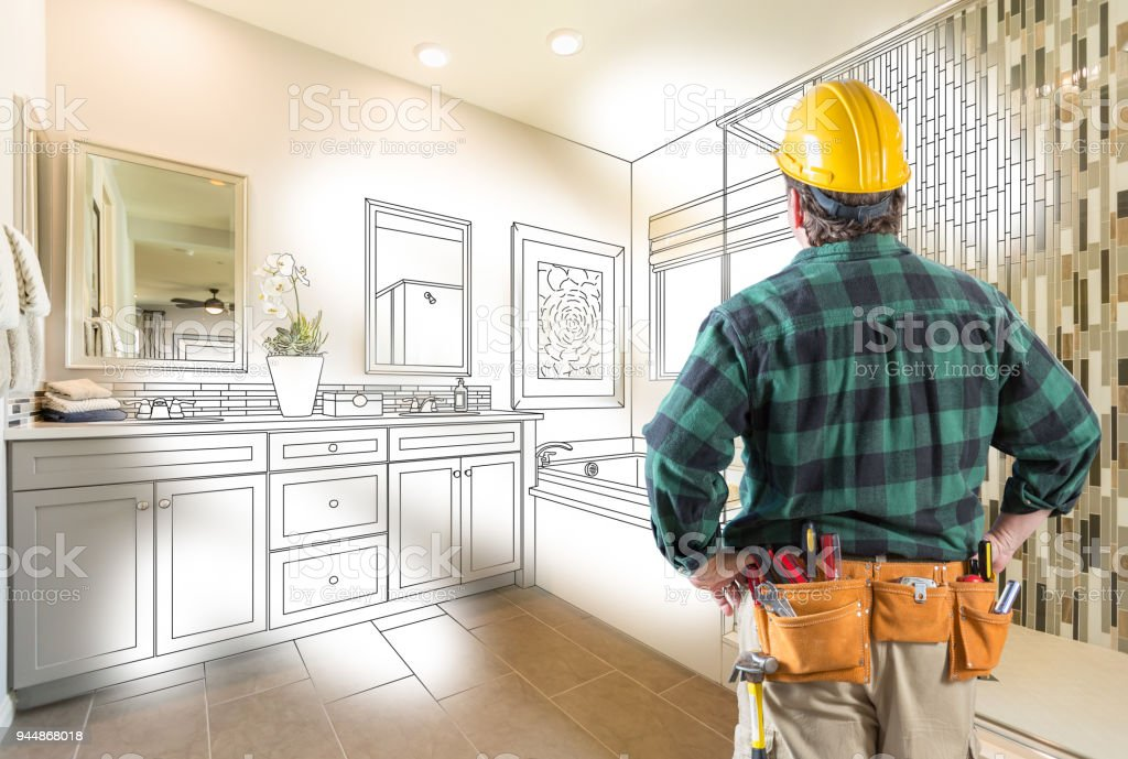 Contractor Facing Custom Master Bathroom Drawing and Photo Gradation stock photo