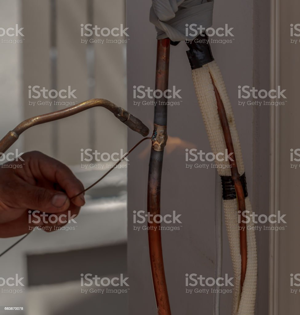 Contractor Gas Welding Pipe brass stock photo