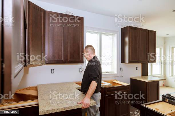 Contractor installing a new laminate kitchen counter top picture id900734656?b=1&k=6&m=900734656&s=612x612&h=ezwv8wwdyz2 afmgcknsoaggoziuaafy4embaooukwc=