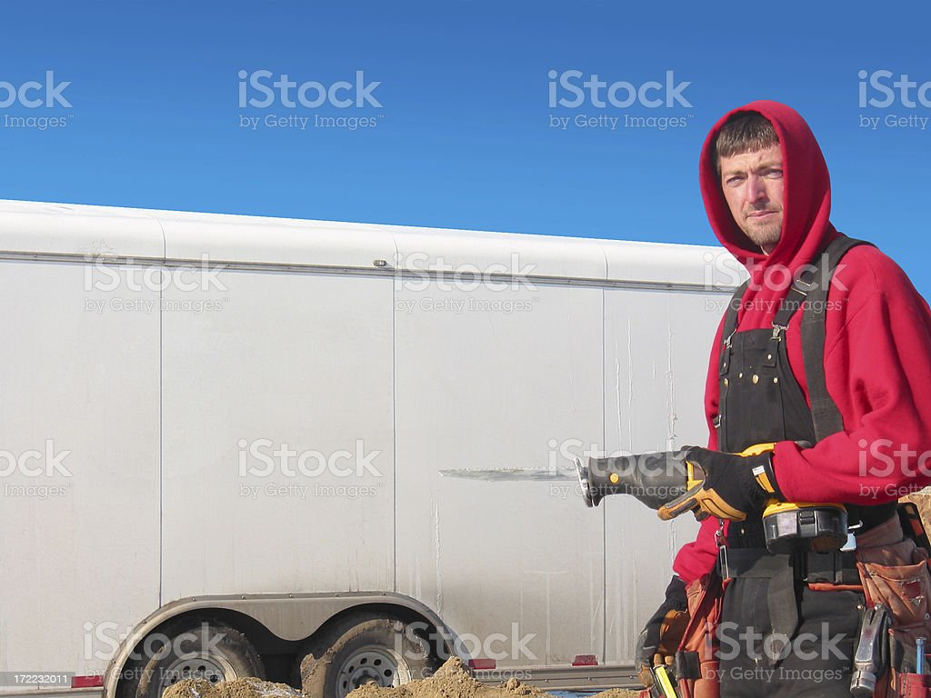 Contractor on job site royalty-free stock photo