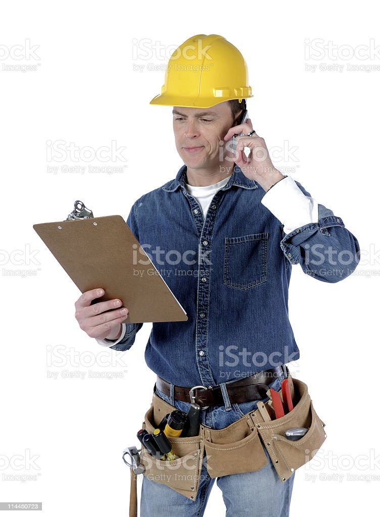 Contractor On Phone royalty-free stock photo
