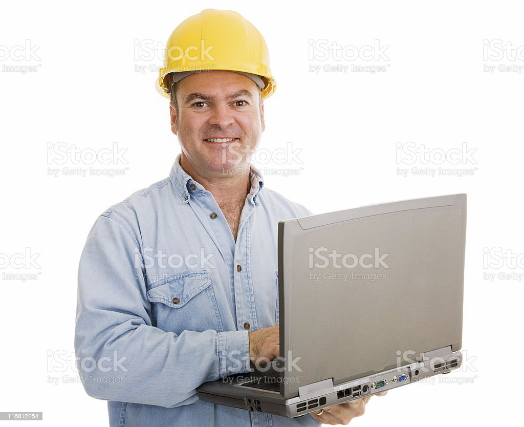 Contractor with Laptop royalty-free stock photo