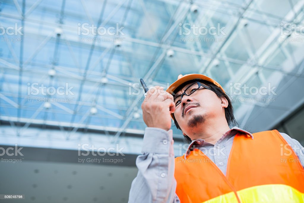 Contractor with transmitter stock photo