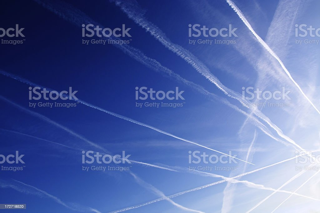 Contrail background stock photo