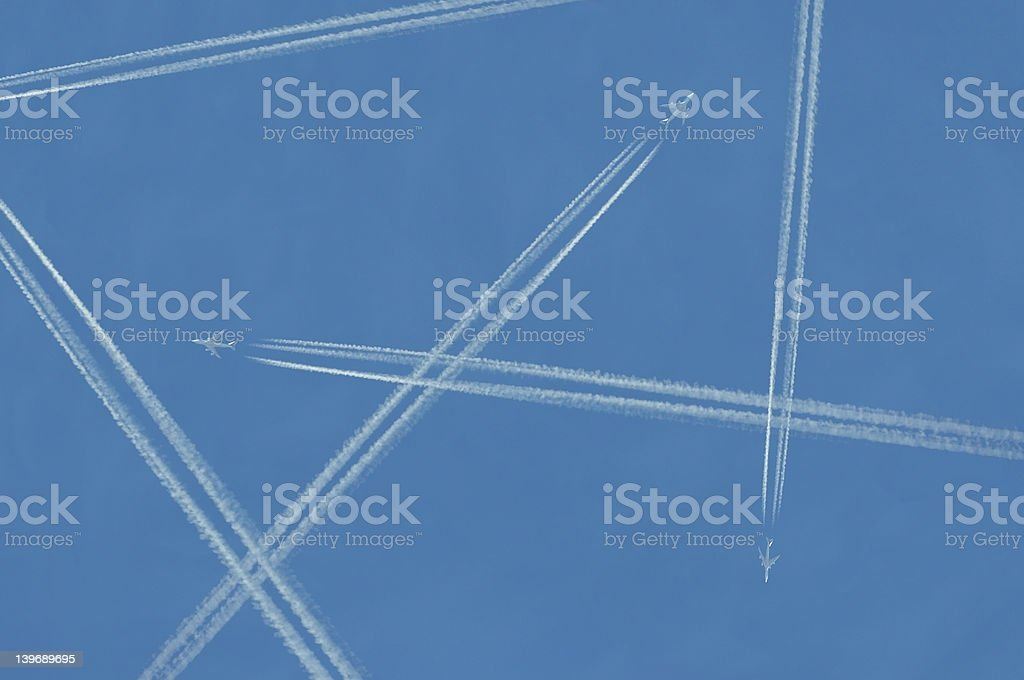 Contrails royalty-free stock photo