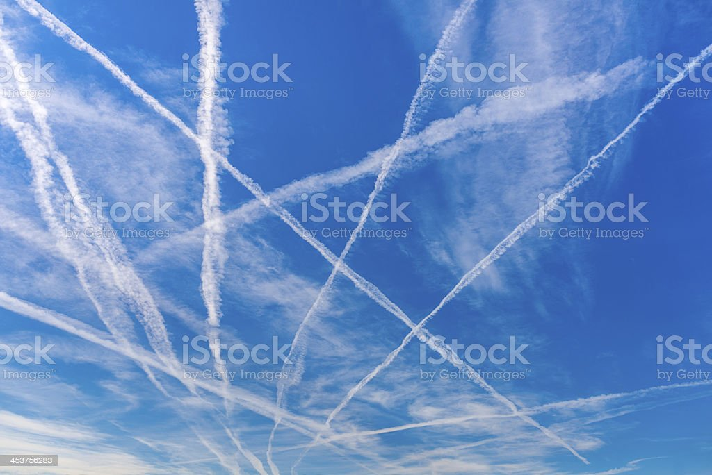 Contrails stock photo