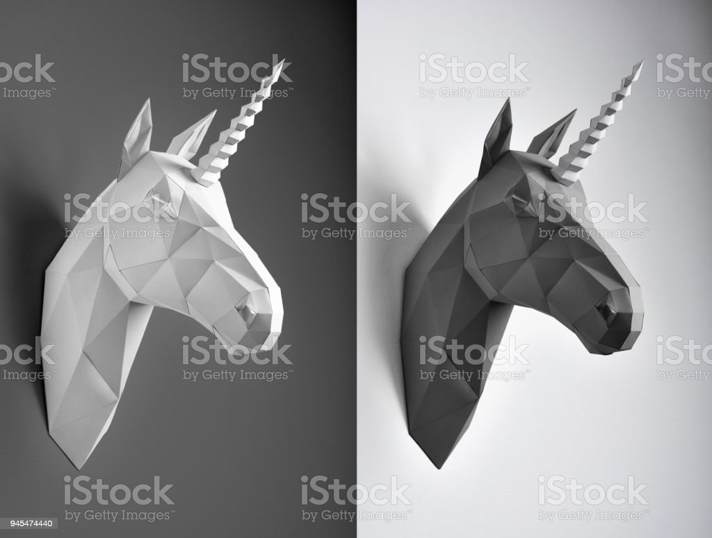 Contrast collage of black and white unicorns. stock photo