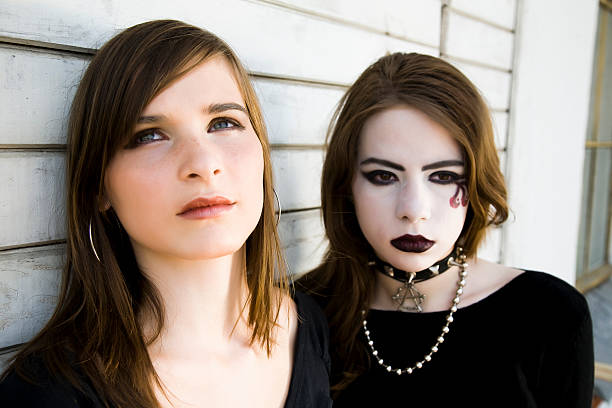 Contrast Girls  goth stock pictures, royalty-free photos & images