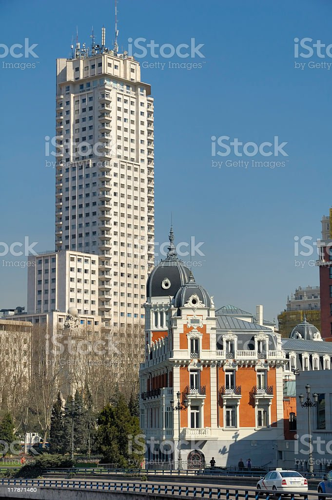 Contrasting architecture, Madrid stock photo