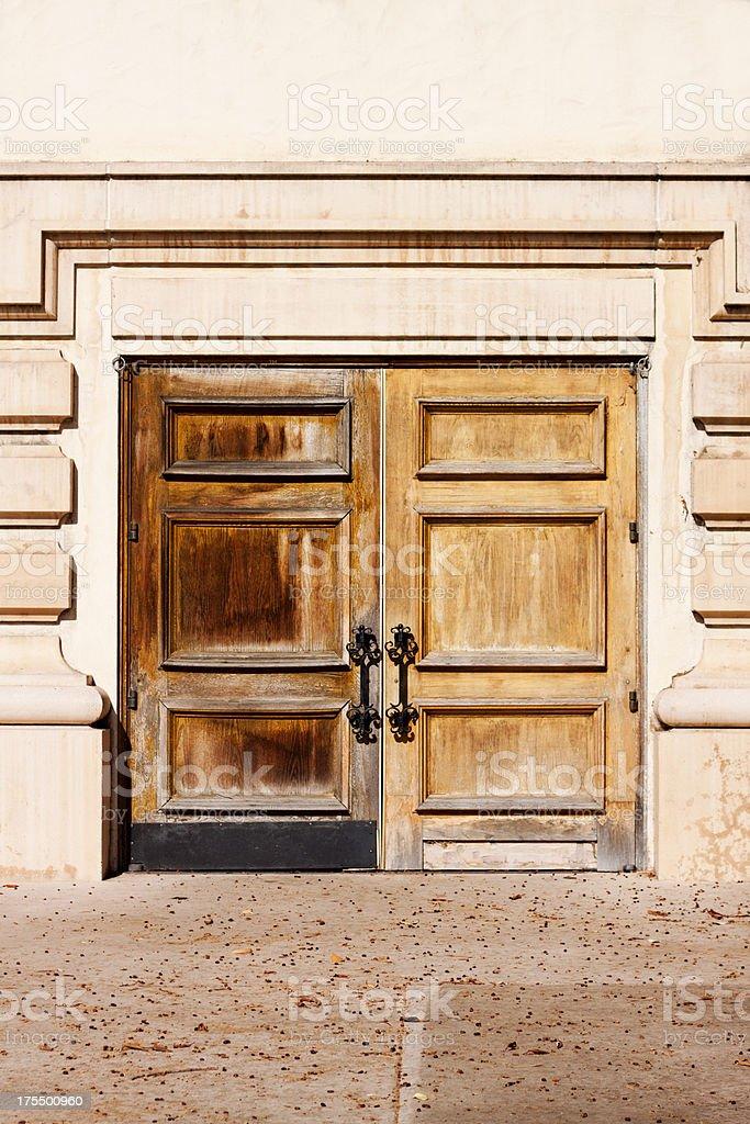 Contrasting Weathered Wood Door stock photo