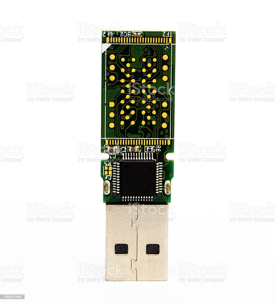 control board chip of usb flash drive stock photo