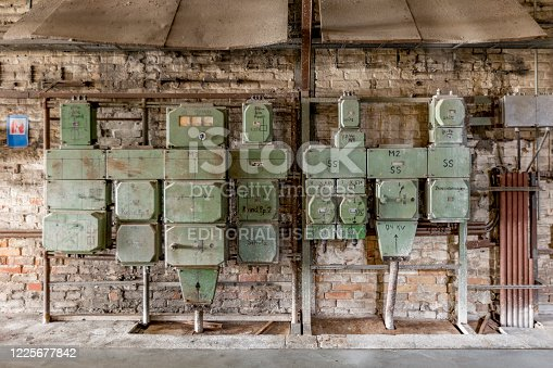 istock control board in old abandoned charcoal power plant in Peenemuende. Peenemuende was also the construction place for WW2 rockets V2 1225677842