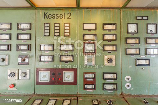 istock control board in old abandoned charcoal power plant in Peenemuende. Peenemuende was also the construction place for WW2 rockets V2 1225677860