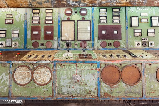 istock control board in old abandoned charcoal power plant in Peenemuende. Peenemuende was also the construction place for WW2 rockets V2 1225677862