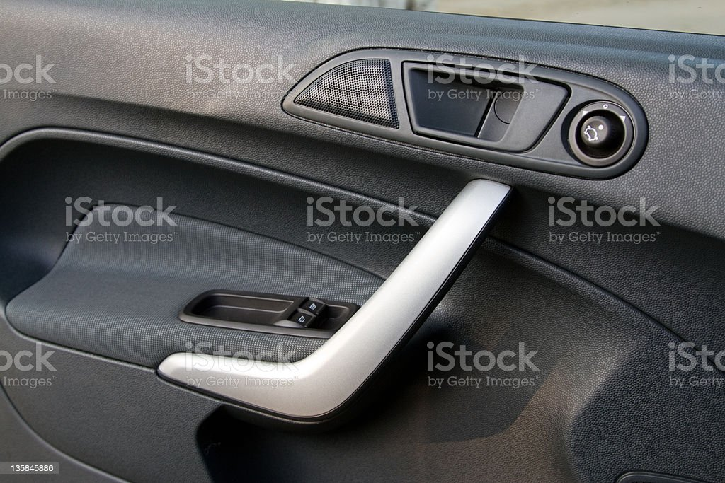 Control knobs in a modern car stock photo