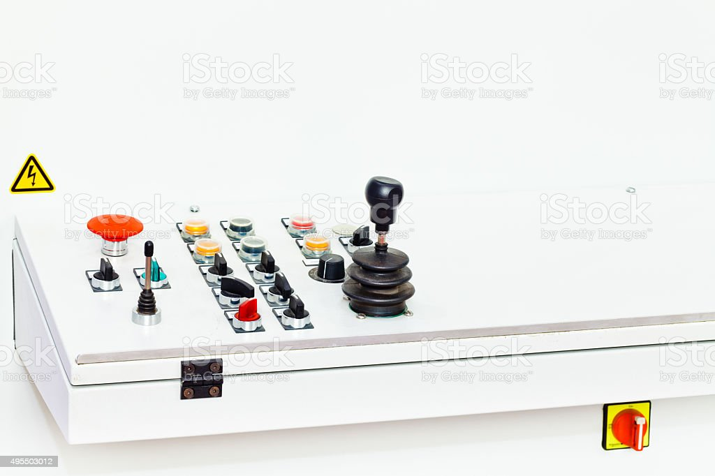 control panel dials on foundry machine stock photo