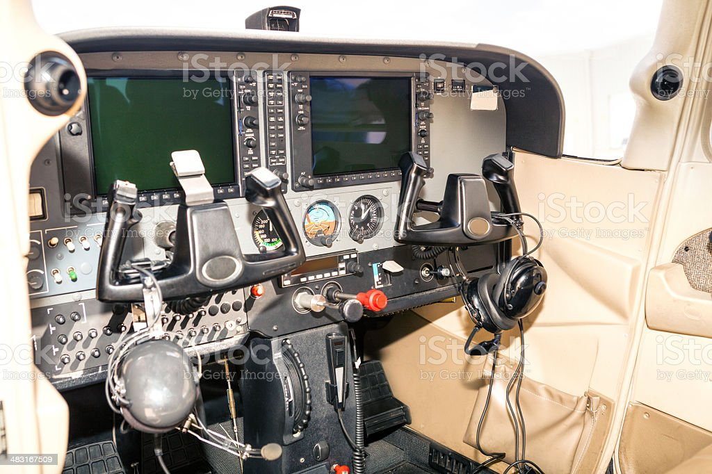 Control panel in a helicopter royalty-free stock photo
