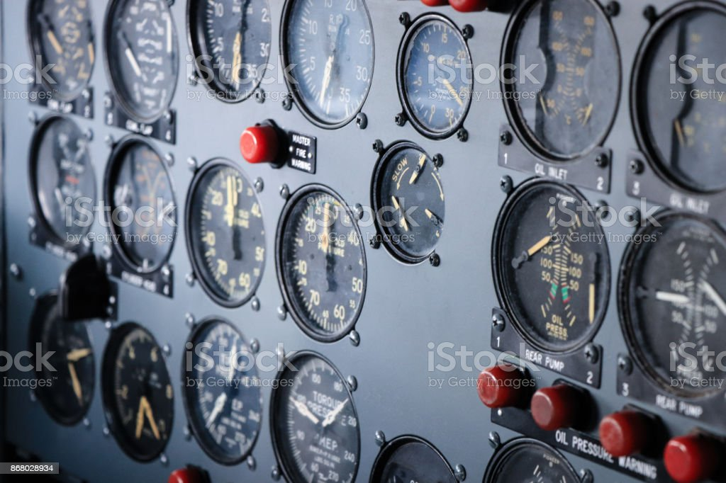 Control panel in a plane cockpit stock photo