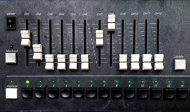 Control panel of a sound mixer equipment stock photo