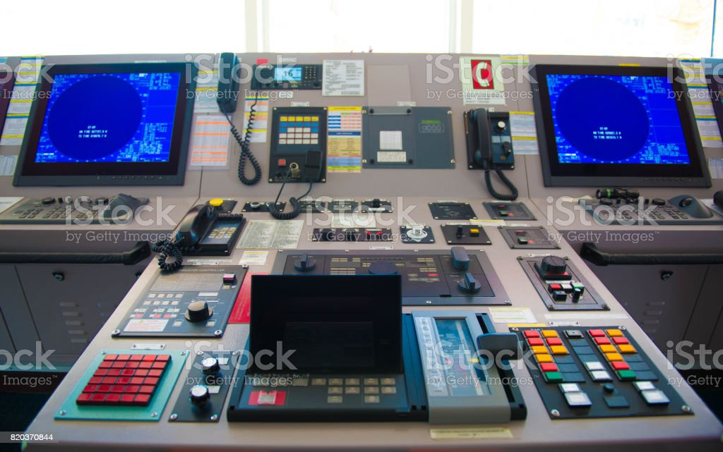 Control Panel Of Cargo Ship Stock Photo - Download Image Now