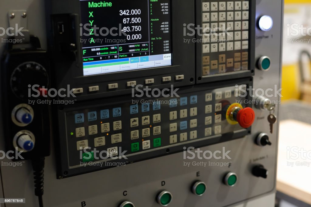 control panel of the CNC machine stock photo