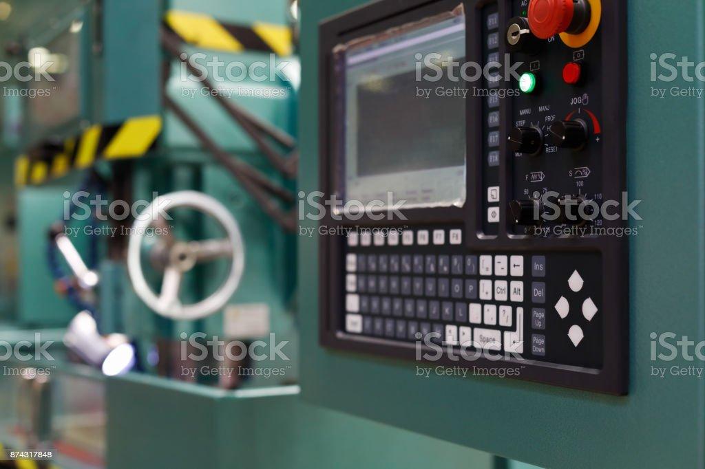 control panel of the CNC metalworking machine stock photo