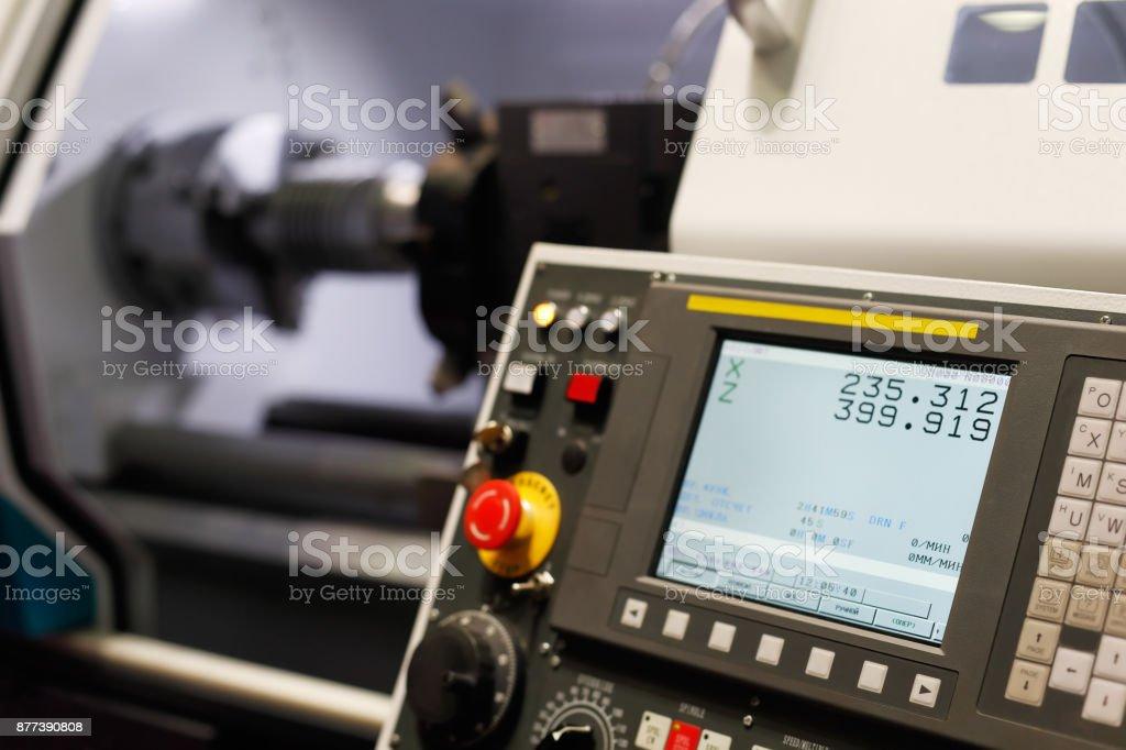 control panel of the lathe machine stock photo