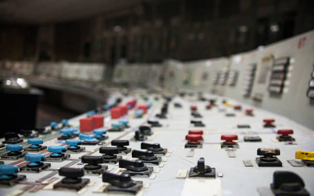 control panel of the nuclear power plant - nuclear power station stock photos and pictures