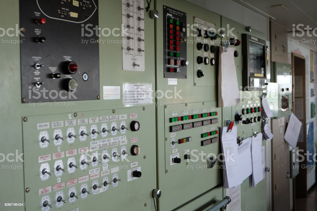 Control panel on the cargo ship in side the bridge. stock photo