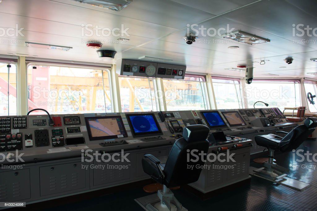Control panel on the cargo ship. stock photo