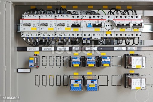 Components inside an electrical control panel that belongs to a high voltage switchgear.