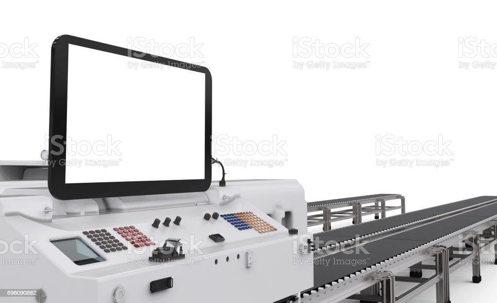 control panel screen with robotic arms stock photo