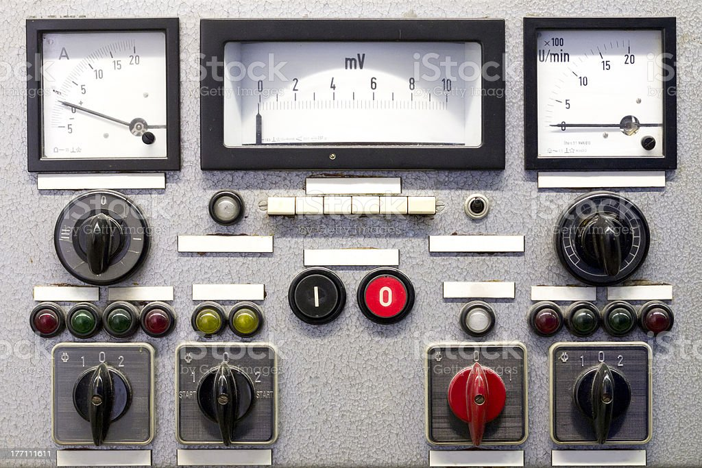Control Panel with old Instruments - no labels stock photo