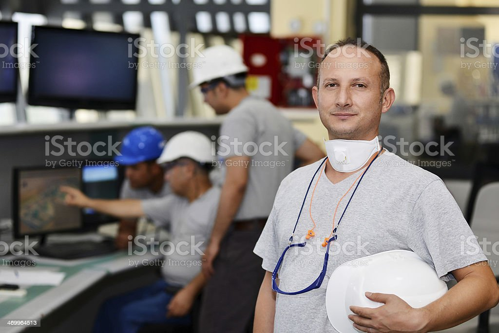 Control room and manager stock photo
