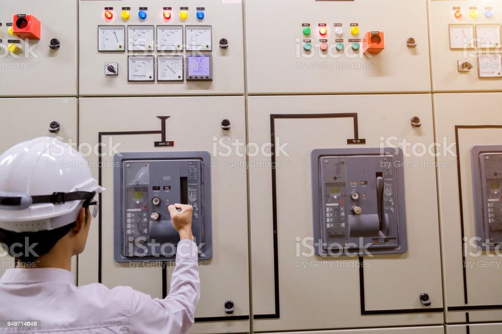 Control Room Engineer. Power Plant Control Panel. Engineer standing...
