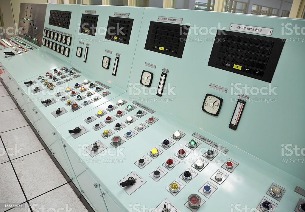 Control room of a water treatment plant royalty-free stock photo