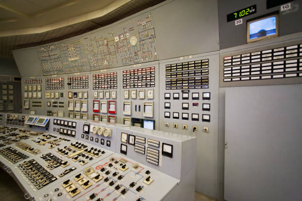 Control room Old power plant control room distribution center stock pictures, royalty-free photos & images