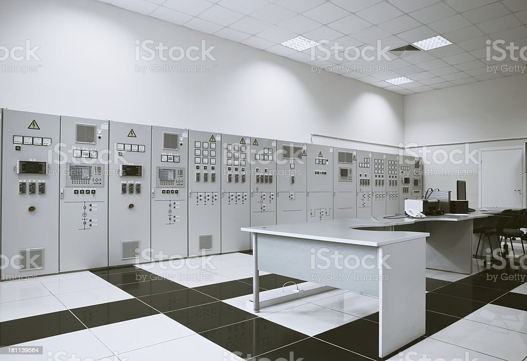 Panel in control room of a natural gas power plant