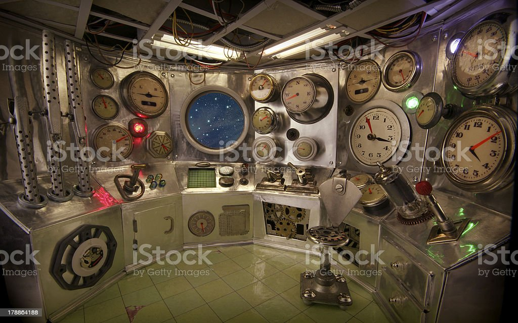 Control room with starry sky royalty-free stock photo