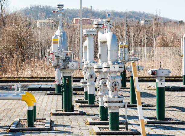 Control station and gas pipe line junction. stock photo