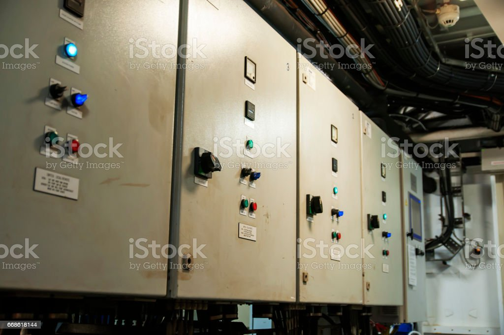 Control Switch panel of industrial equipment with buttons aboard modern ship stock photo