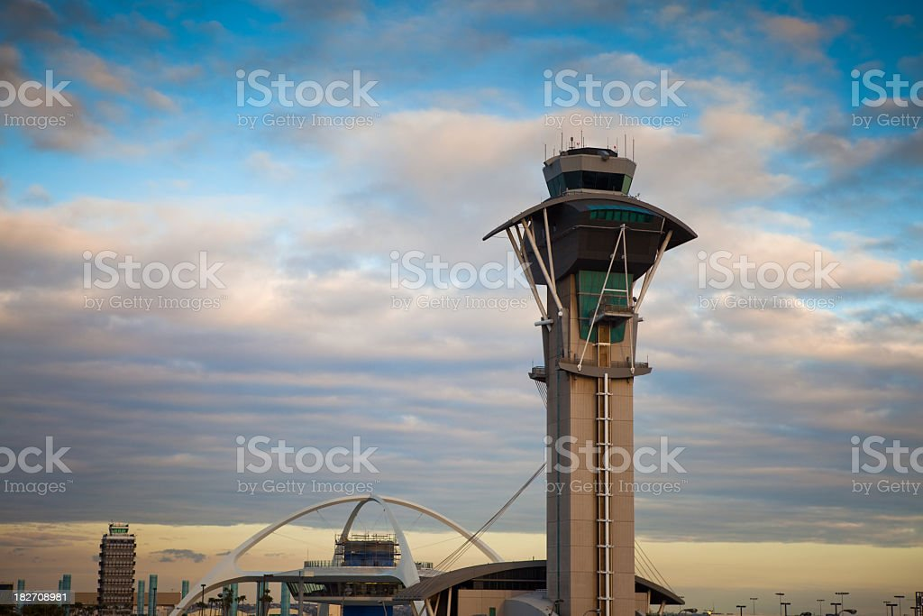 LAX Control Tower and Theme Restaurant stock photo